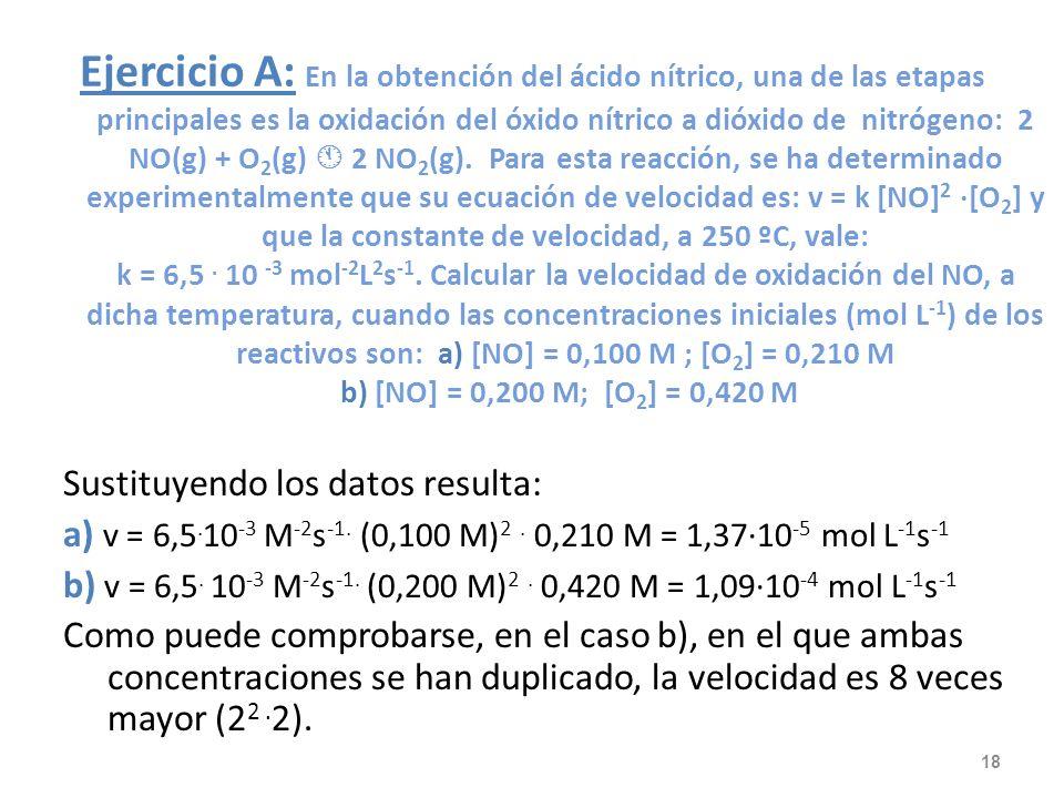 Ejercicio A: En la obtención del ácido nítrico, una de las etapas principales es la oxidación del óxido nítrico a dióxido de nitrógeno: 2 NO(g) + O2(g)  2 NO2(g). Para esta reacción, se ha determinado experimentalmente que su ecuación de velocidad es: v = k [NO]2 ·[O2] y que la constante de velocidad, a 250 ºC, vale: k = 6,5 . 10 -3 mol-2L2s-1. Calcular la velocidad de oxidación del NO, a dicha temperatura, cuando las concentraciones iniciales (mol L-1) de los reactivos son: a) [NO] = 0,100 M ; [O2] = 0,210 M b) [NO] = 0,200 M; [O2] = 0,420 M